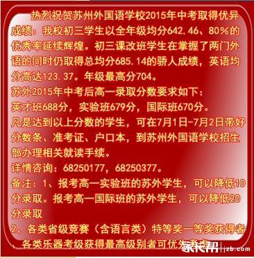 2015年苏州外国语中考喜报