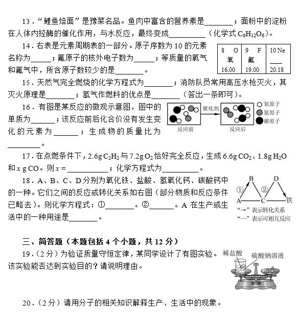 2015河南中考化学试题公布图片版 中考网
