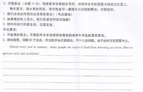 2015广东揭阳中考英语作文题目及范文