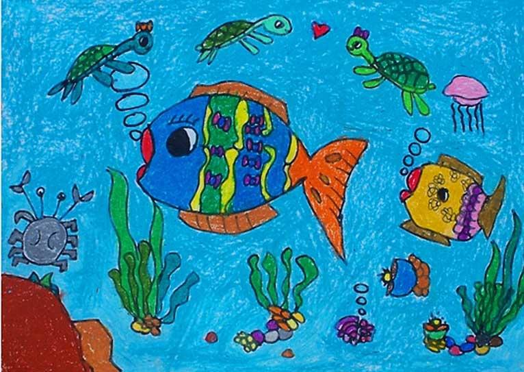 海底世界儿童画:作品欣赏1