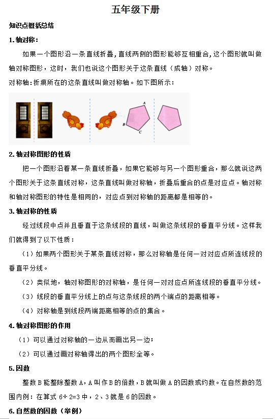 【数学】小学生五年级数学知识点总结(4)