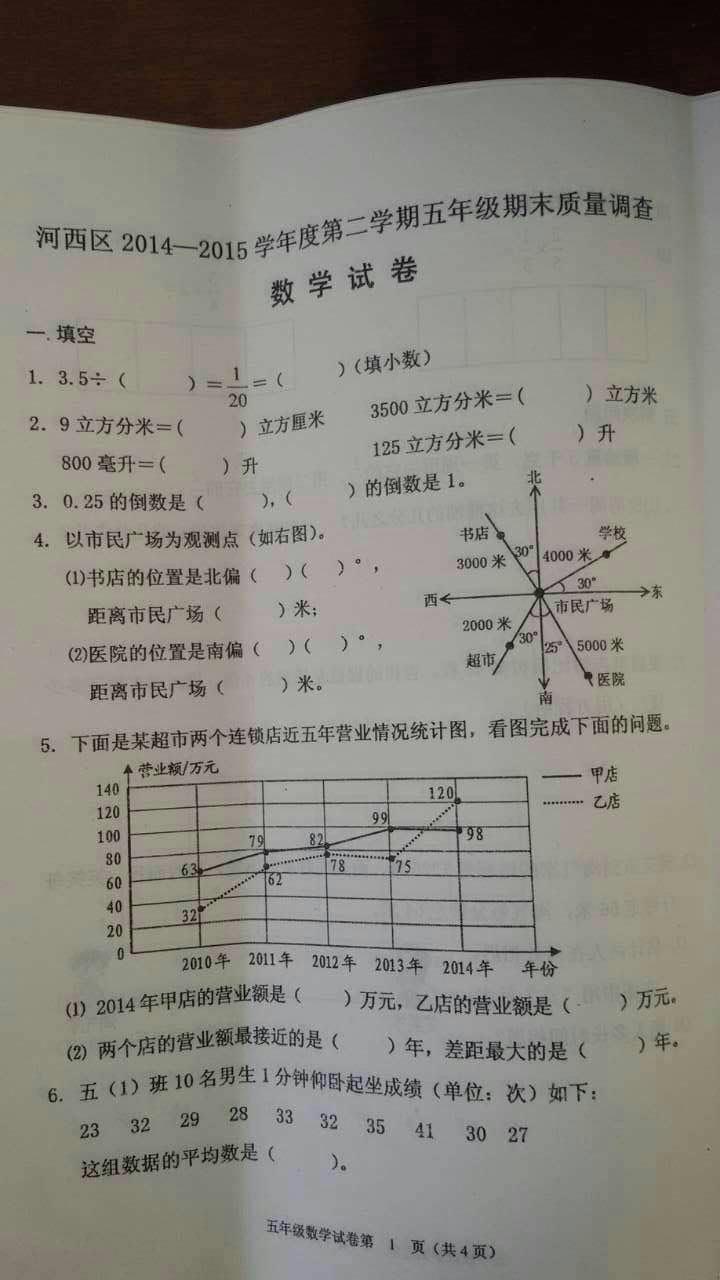 五年级下册数学周记_2015天津河西区五年级下册数学期末试卷_数学_天津奥数网