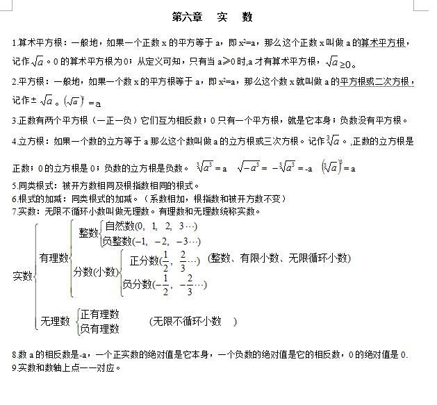 2016年重慶中考數學七年級下知識點總結(二)圖片
