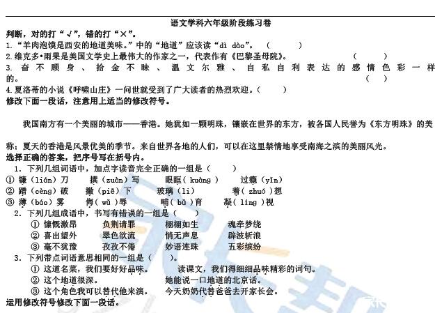 2016青岛小升初备考之六年级语文练习试卷