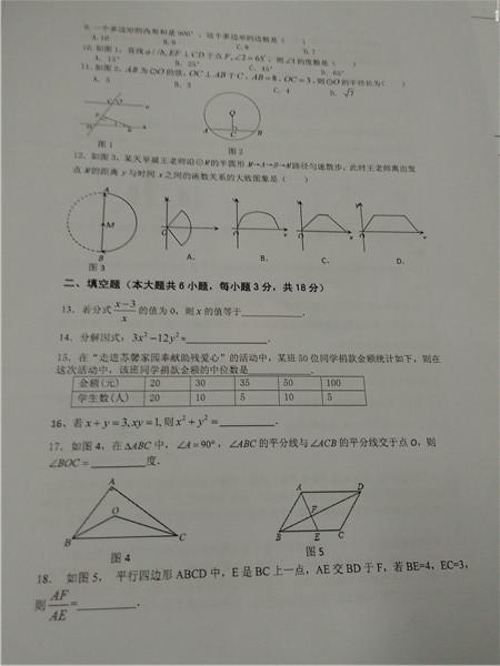 2015-2016学年度长沙雅礼系初三期末考试数学试卷