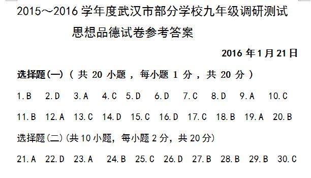 2016武汉初三元调思品参考答案