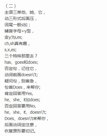 备战2017重庆小升初英语语法顺口溜
