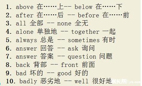 经验分享:小升初100组重要英汉对照反义词_奥