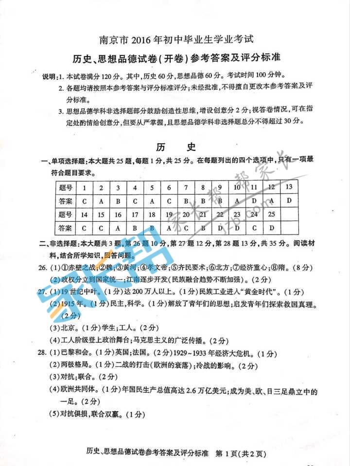 2016年南京中考思想品德试题答案