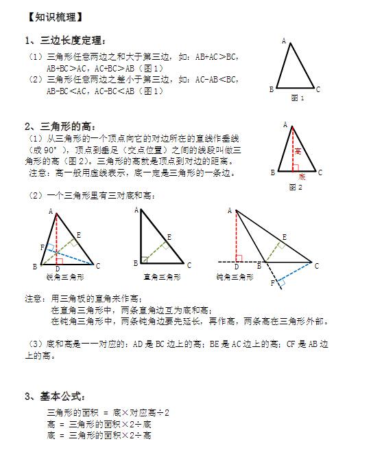 小学四年级几何三角形知识点梳理(二)
