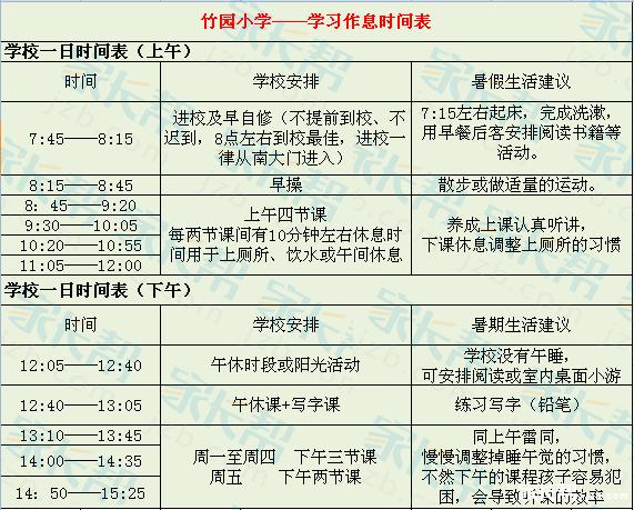 新生必看:小学作息时间表及暑假作业