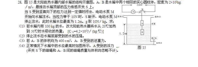 2016年青海西宁中考物理试题(图片版)(4)