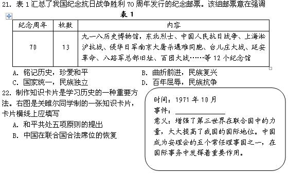 2016年四川乐山中考历史试题(图片版)