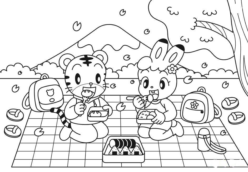 动物野餐简笔画图片大全