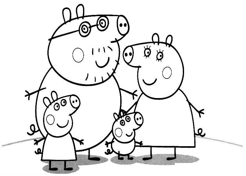 小猪佩奇一家人简笔画_小猪佩奇一家简笔画