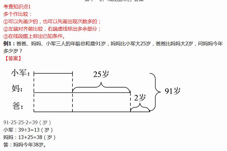 二年级线段图解题多个做比较例题及答案(2)