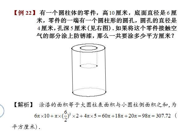 六年级长方体和正方体例题讲解:圆柱涂色