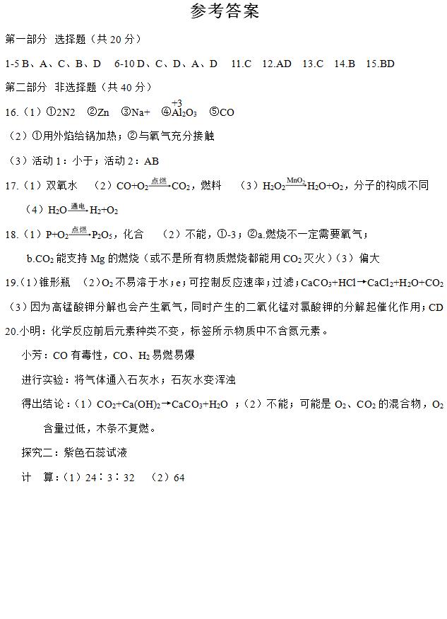 2016年江苏省泰兴市洋思中学九年级化学期中
