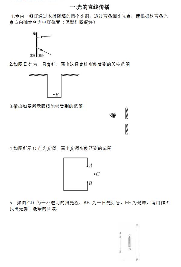 初中物理光学作图题:光的直线传播