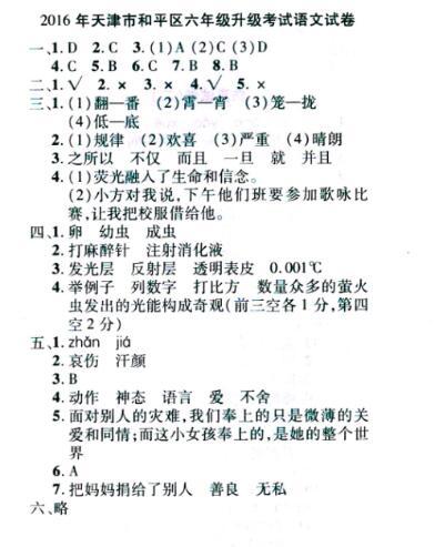2016天津小升初真题