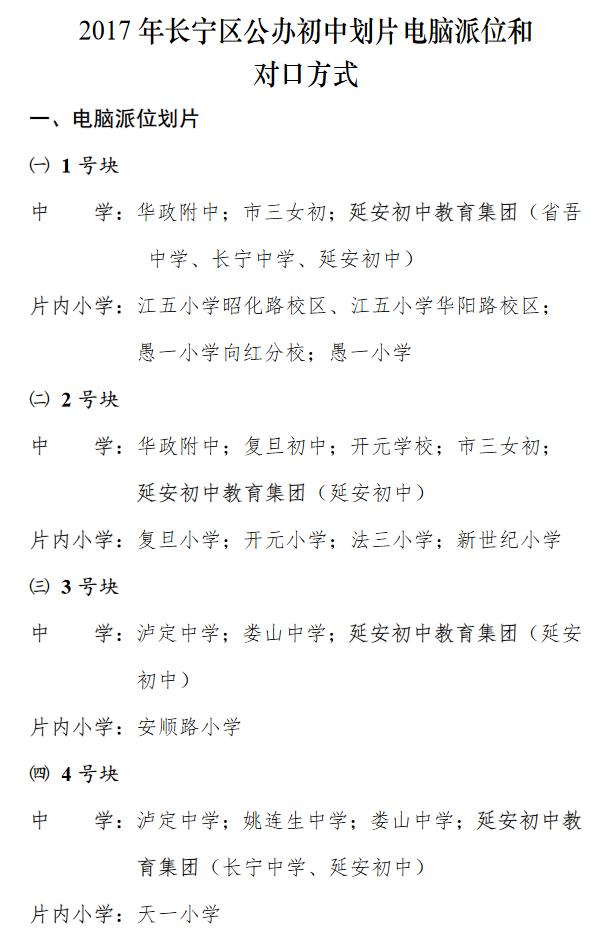 2017年上海�h行�^公�k初中��片��X派位及��口方案