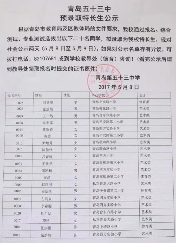2017年青岛五十三中小升初特长生预录取名单公示
