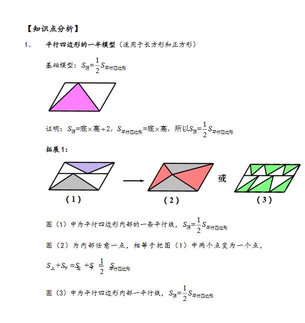小学小学几何直线型奥数:一半模型知识点周覃平面图片
