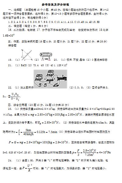山东省寿光市2017年中考二模物理试卷答案(word版)