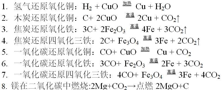 2017年中考化学方程式汇总:典型的氧化还原反应