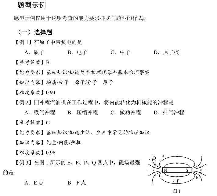 2017年上海中考物理真题样卷