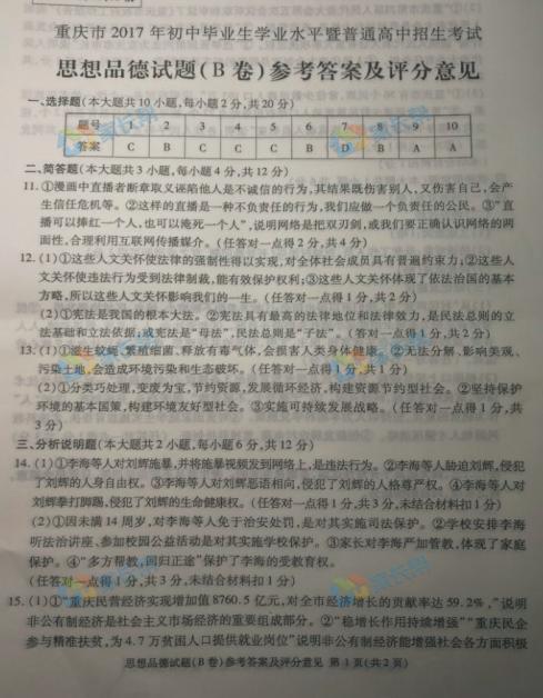2017年重庆中考思想品德试题图1