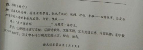 2017年四川巴中中考作文题目图1