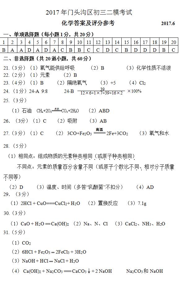 2017年北京门头沟区中考二模化学试题答案1