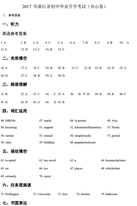 2017年浙江舟山中考英语试题图14