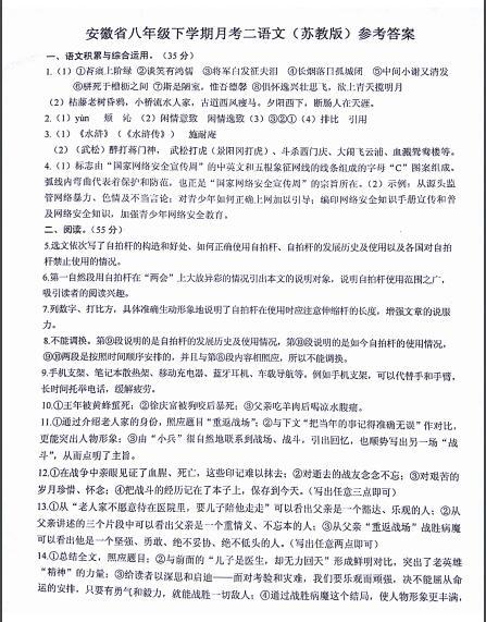 2017安徽蚌埠固镇第三中学八年级下期中语文试题答案1
