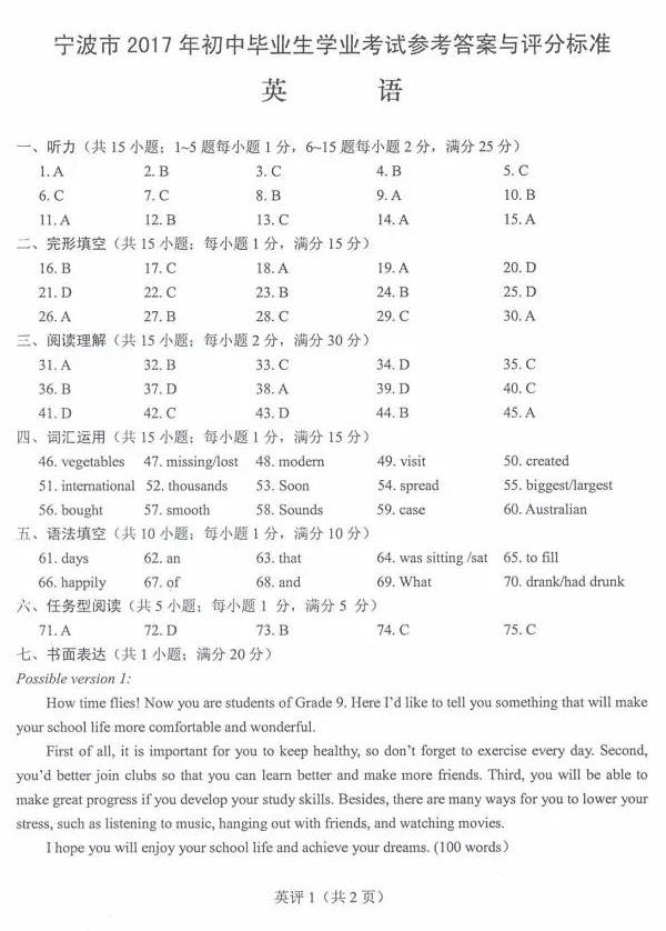 2017宁波中考英语真题及答案1