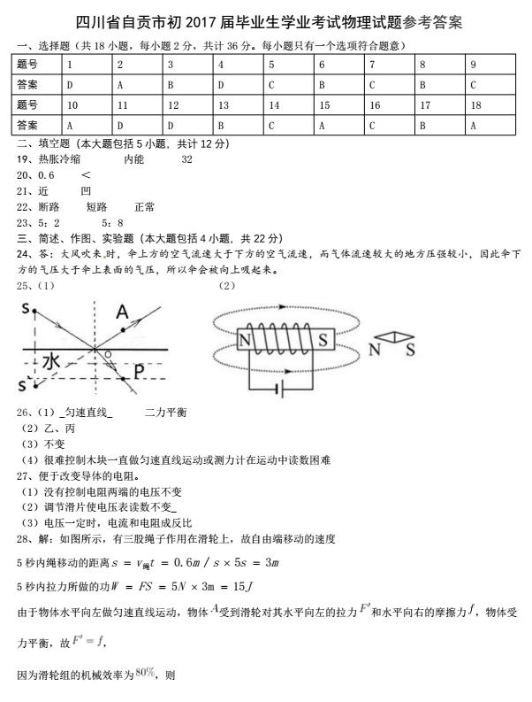 2017年四川自贡中考物理真题图5