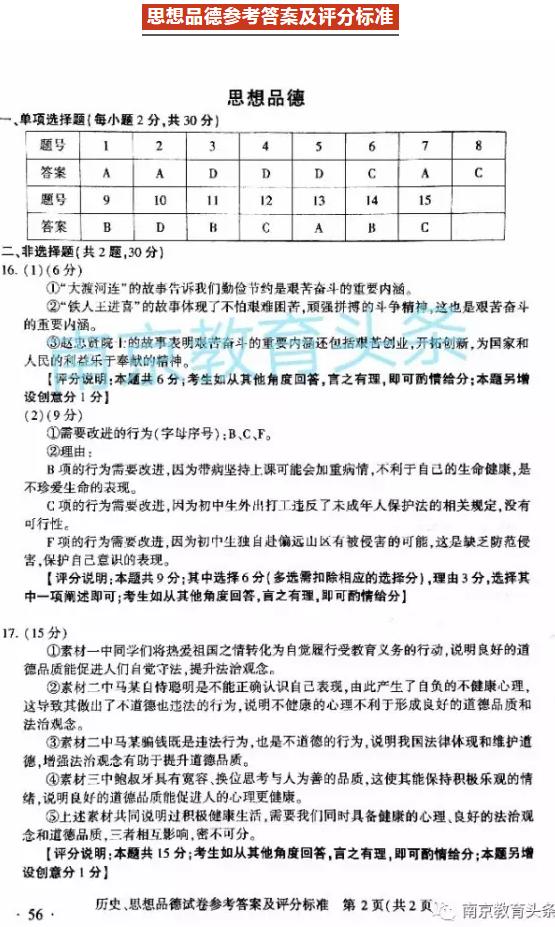 2017年南京思想品德中考真题答案图1