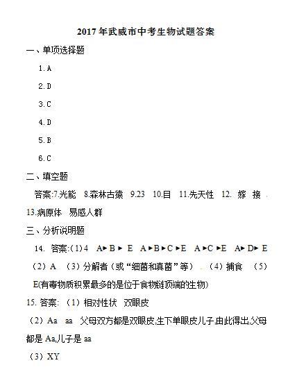 2017年甘肃武威生物中考答案图1