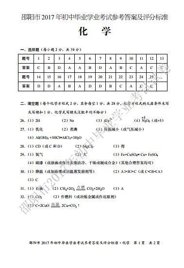 2017年湖南邵阳化学中考答案图1