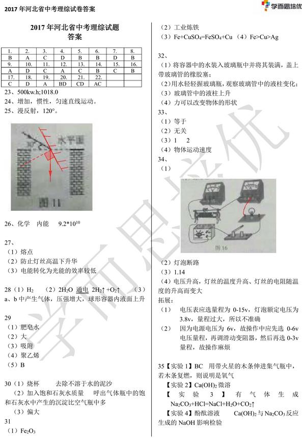 2017年河北省石家庄中考理科综合试题答案图1