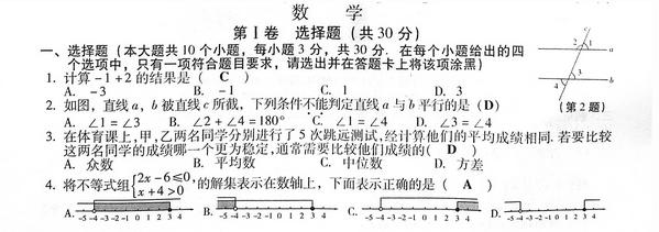 2017山西太原中考数学试题及答案解析1