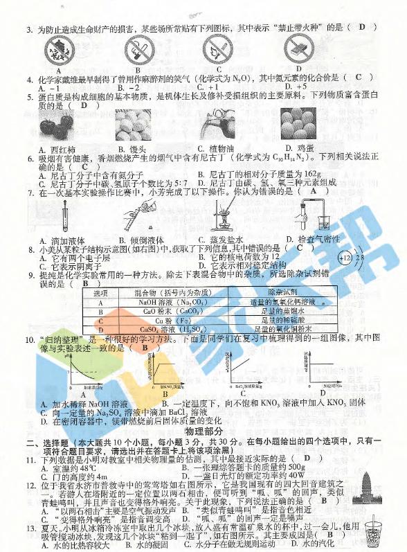 2017山西太原中考理综真题及答案解析2