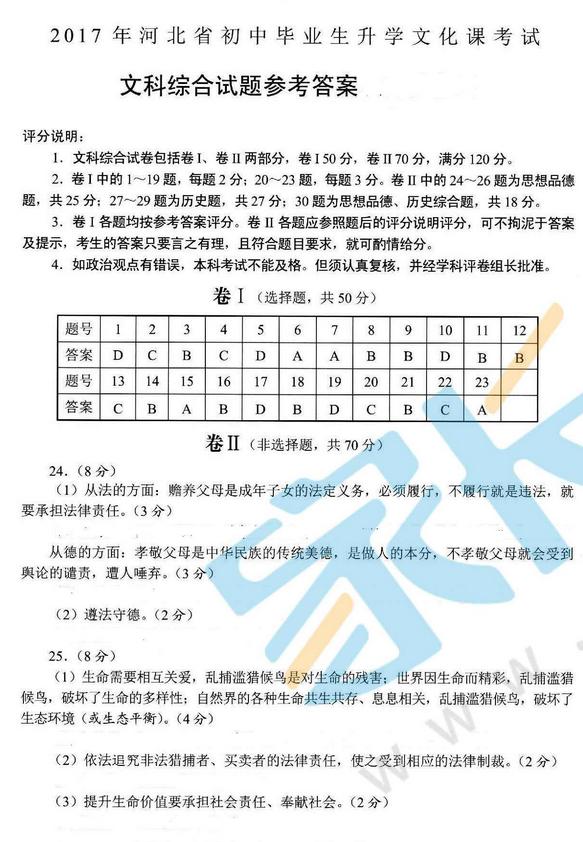 2017年河北承德中考文科综合试题答案图1