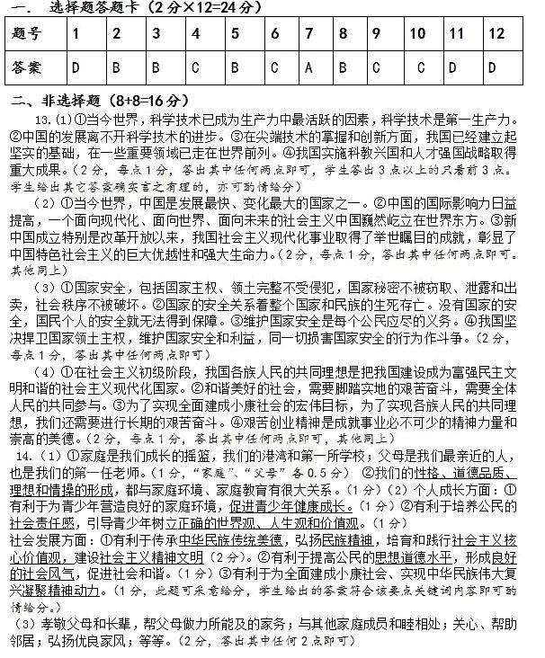 2017年湖北黄冈政治中考答案图1