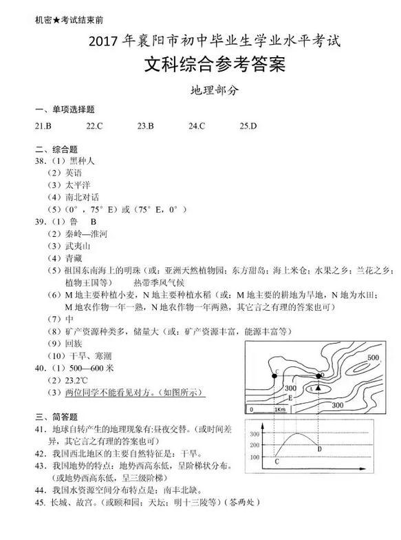 2017年湖北襄阳地理中考答案图1