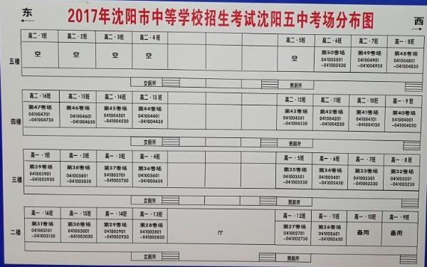2017年沈阳中考沈阳五中考场分布图