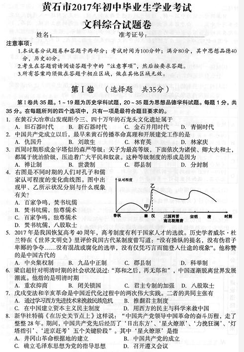 2017年湖北黄石历史中考真题图1