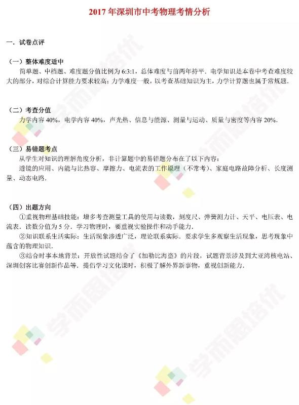 2017年深圳中考物理考情分析1