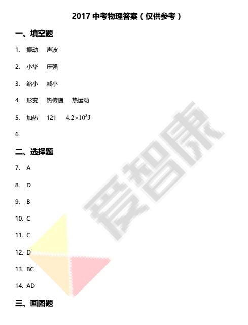 2017年郑州中考物理真题答案公布图1